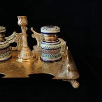 Antique Brass and Porcelain Double Inkwell with Candlestick (3 of 10)