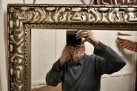 Large 20th Century Arts & Crafts Style Pewter Finish Wall Mirror (5 of 8)