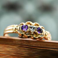 The Antique Heart Set Rose Diamond & Amethyst Ring (2 of 6)