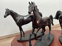 """Set 3 Small Solid Bronze Horse Racing """"The Origins of Champions"""" by Gill Parker (16 of 45)"""