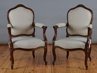 Pair of French Louis XV Style Walnut Armchairs (2 of 9)