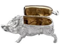Sterling Silver Boar Vesta Box - Antique Victorian 1880 (7 of 12)