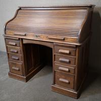 Antique Edwardian Oak Roll Top Pedestal Desk (9 of 10)