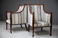 Pair Mahogany Upholstered Armchairs (2 of 11)