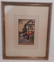 Water coloured Ink drawing of Coventry, Priory Row Mounted & Framed