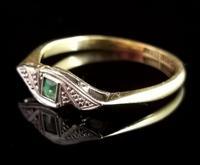 Art Deco Emerald Ring, 18ct Gold & Platinum (6 of 10)