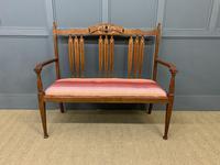 Arts & Crafts Inlaid Oak Bench (2 of 12)