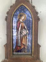 Antique Gothic Framed Enamel of St Elisabetha of Hungary Carrying Roses (3 of 11)