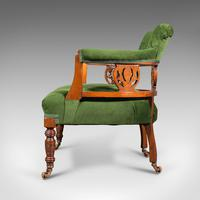 Antique Tub Chair, English, Velvet, Mahogany, Elbow, Seat, Edwardian c.1910 (5 of 12)