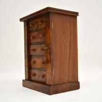 Antique Victorian Burr Walnut Miniature Wellington Chest (10 of 11)