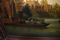 Pair Antique Dutch Oil Paintings Boat Scenes Riverscape 1860 (6 of 12)