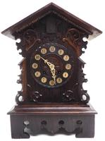 Rare Cuckoo Mantel Clock – German Black Forest Carved Bracket Clock (10 of 12)