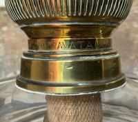 Superb Tall 19thc 'Matador' Brown Ceramic & Milky White Brass Table Oil Lamp (10 of 12)