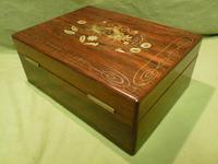 Beautifully Inlaid Rosewood Jewellery Box. Unusual Interior c.1865 (11 of 14)