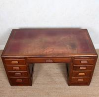 Desk Twin Pedestal Mahogany Leather Art Deco (8 of 12)
