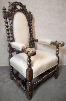 Pair of Victorian Jacobean Style Carved Oak Armchairs (3 of 12)