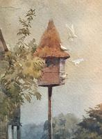 Original watercolour 'The dovecote' by Felice Bauwens Signed & dated (2 of 2)