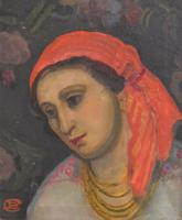 Oil Painting of a Lady with a Red Headscarf (4 of 8)