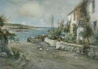 Joseph Hughes Clayton Watercolour 'Cottage by the Sea'