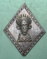 3 Antique Carved Oak Lozenge Shape Figure Heads (5 of 6)