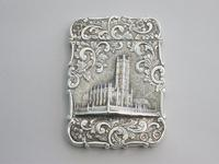 Victorian Silver Castle-top Card Case - St Luke's Church, Liverpool by Nathaniel Mills, Birmingham, 1845 (2 of 12)