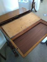Victorian Mahogany Green Leather Lady's Workstation, Sewing & Writing Desk (6 of 10)