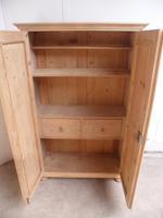 Victorian Tall Antique Pine 2 Door 2 Drawer Storage Cupboard to wax / paint (8 of 11)