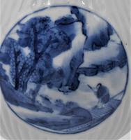 Chinese Blue & White Porcelain Ribbed Vase-19th Century (3 of 9)