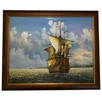 20th Century American Marine Art Oil Painting Spanish Ship Cape Cod USA