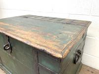 Large Distressed Painted Metal Bound Trunk (6 of 10)