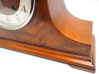 Walnut Hat-Shaped English  8-Day Mantel Clock with Silver & Walnut Dial (5 of 8)