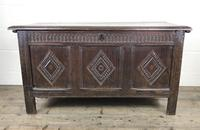 Antique 18th Century Oak Coffer With Carved Front (9 of 16)