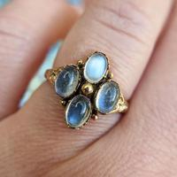 Vintage 9ct Yellow Gold Four Moonstone Cabochon Ring (6 of 9)