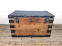 Antique Pine Metal Bound Trunk with Tin Lining