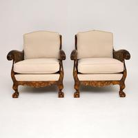 Pair of Antique Swedish Satin  Birch Bergere Armchairs (2 of 12)