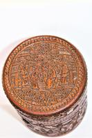 Finely Carved Chinese Bamboo Circular Lidded Pot (4 of 6)