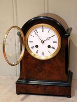 Small Victorian Burr Walnut Mantel Clock (8 of 10)