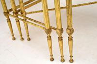 1950's Vintage Brass & Mahogany Nest of Tables (3 of 10)