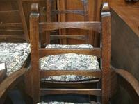 Set of Five Unusual Oak Country Style Ladder Back Chairs (2 of 2)