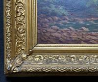 Beautiful Original 1921 Antique Riverscape Landscape Oil Painting (9 of 10)