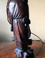Oriental Hardwood Table Lamp c.1910 (8 of 11)