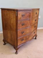 Antique Burr Walnut Shaped Front Chest of Drawers (6 of 7)