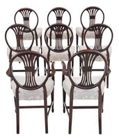 Set of 8 '6+2' Carved Mahogany Dining Chairs Late 19th Century (2 of 12)