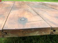 English Vintage Railway Willmot Trolley Oak Iron Plank Top Coffee Wheel Table (9 of 25)
