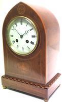 Incredible French Inlaid Lancet Mantel Clock Multi Wood Inlay 8 Day Striking Mantle Clock (6 of 10)