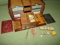 Unusual Oak Games Box - Bezique + Antique Cards + More (10 of 16)