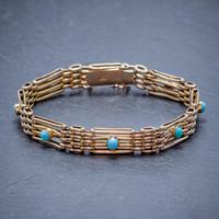 Antique Victorian Turquoise Gate Bracelet 9ct Gold c.1900 (4 of 5)