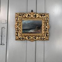 Antique oil painting seascape coastal scene of St Owens Ouens Bay Jersey
