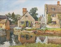 Gorgeous Early 20th Century Country River Hamlet British Landscape Watercolour Painting (2 of 12)