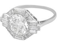 3.75ct Diamond & Platinum Dress Ring - Art Deco c. 1930 (3 of 9)